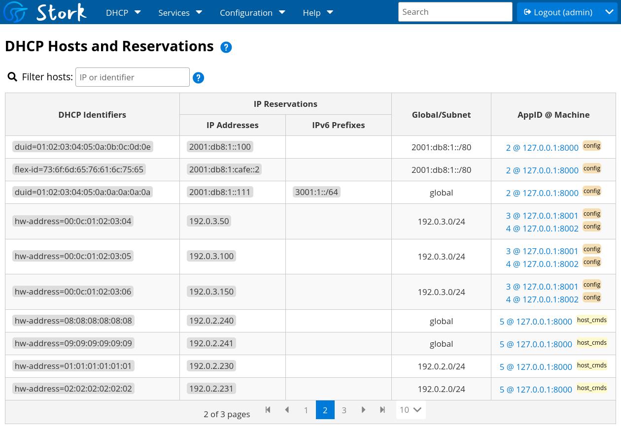 Stork DHCP Host Reservations